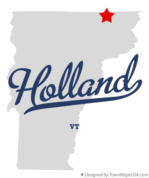 Map of Holland Vermont VT