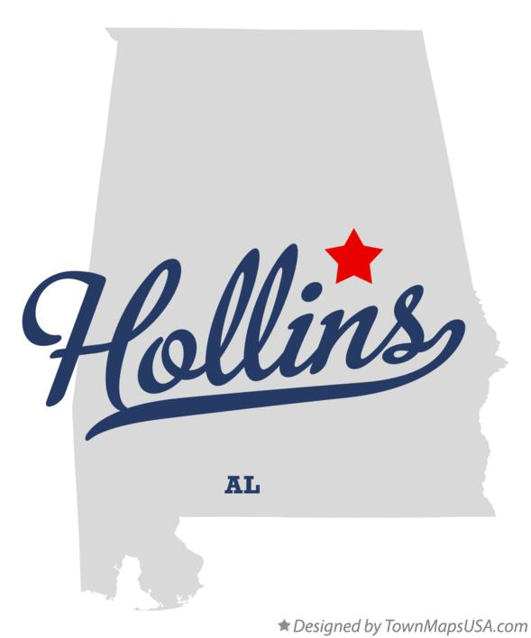 Map of Hollins Alabama AL