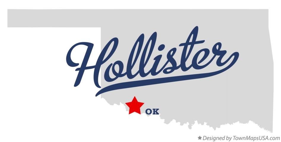 Map of Hollister Oklahoma OK