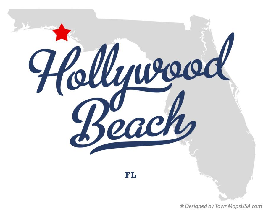 Map of Hollywood Beach Florida FL