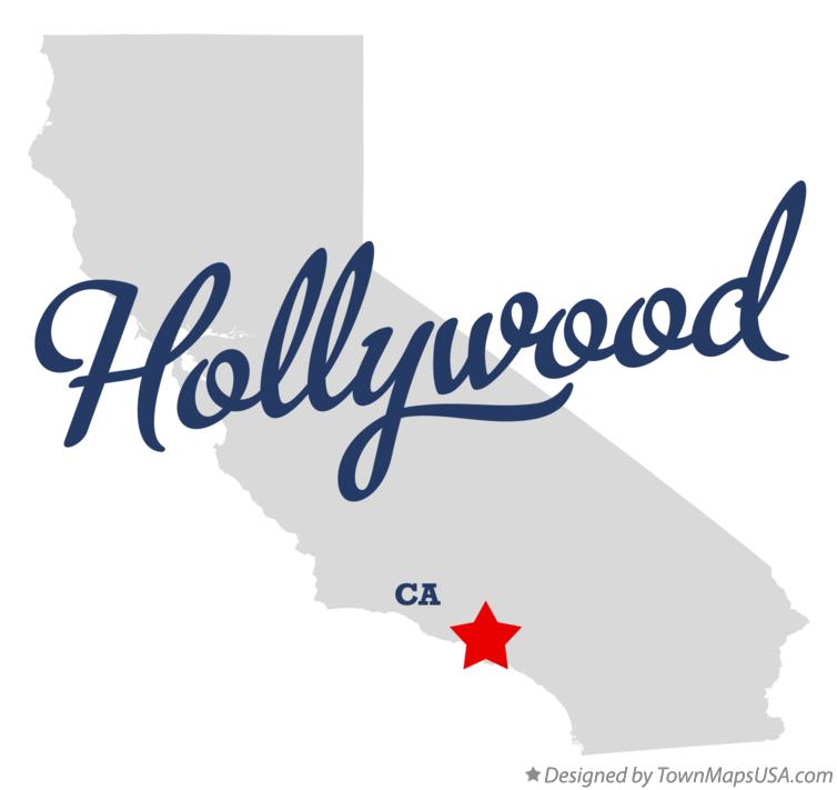 Map of Hollywood California CA