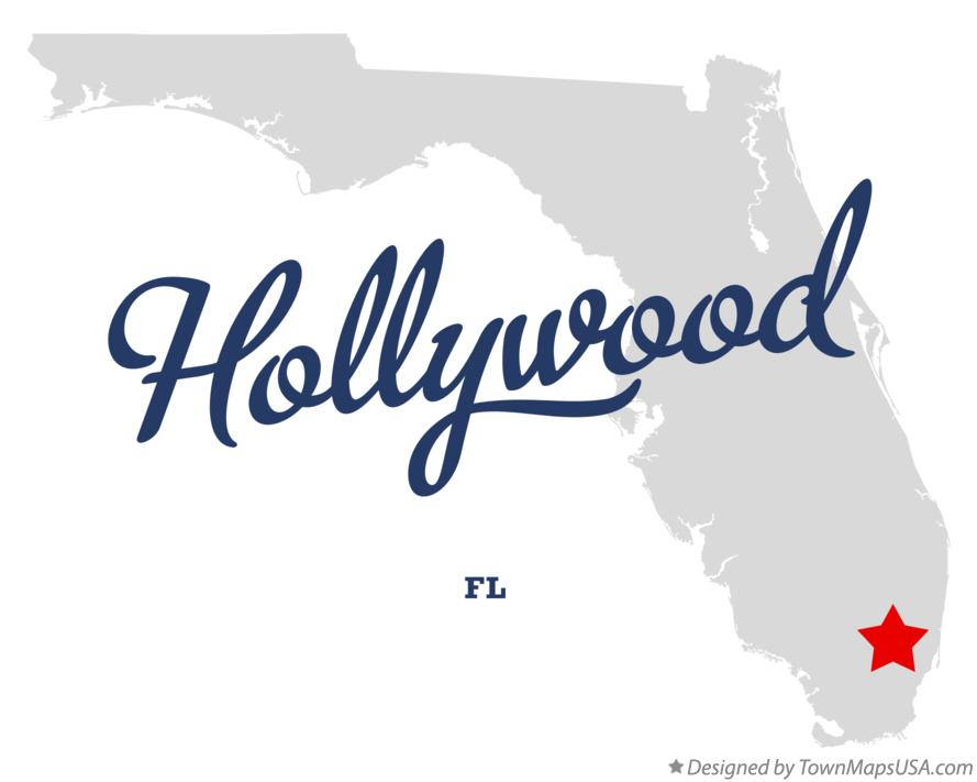 Map of Hollywood Florida FL