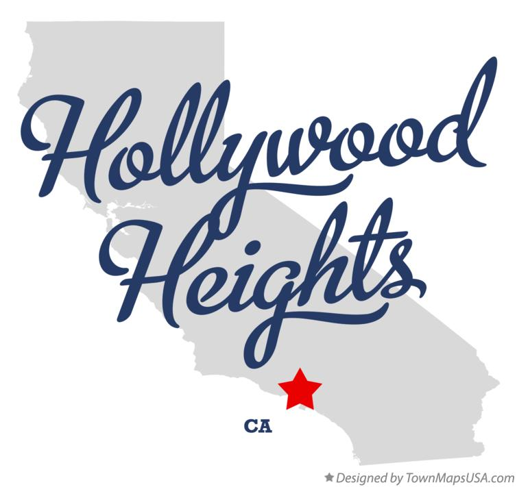 Map of Hollywood Heights California CA