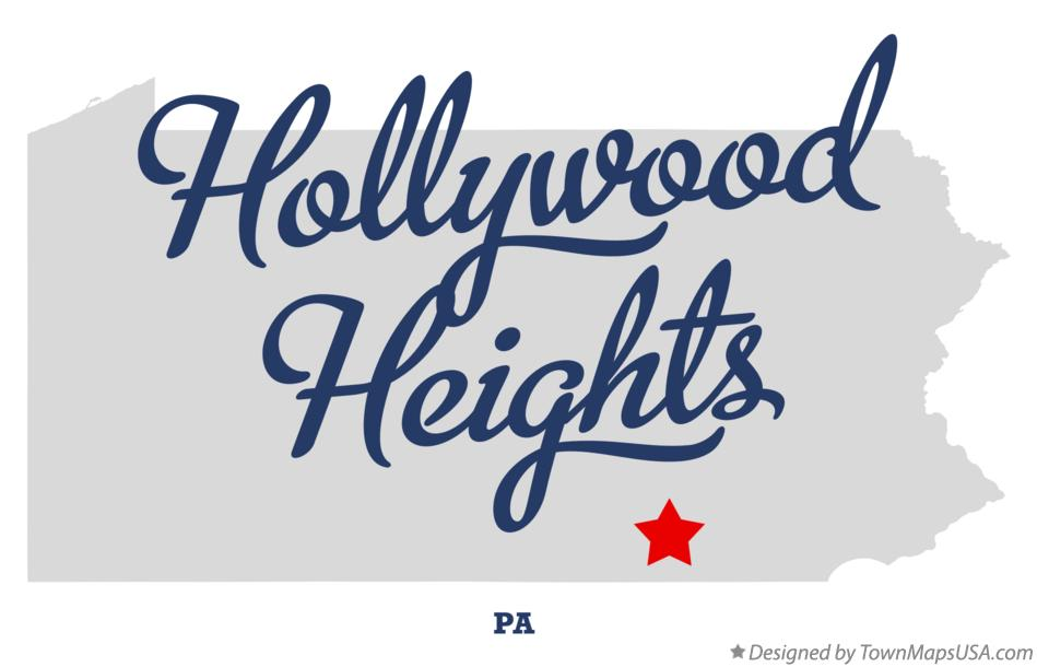 Map of Hollywood Heights Pennsylvania PA