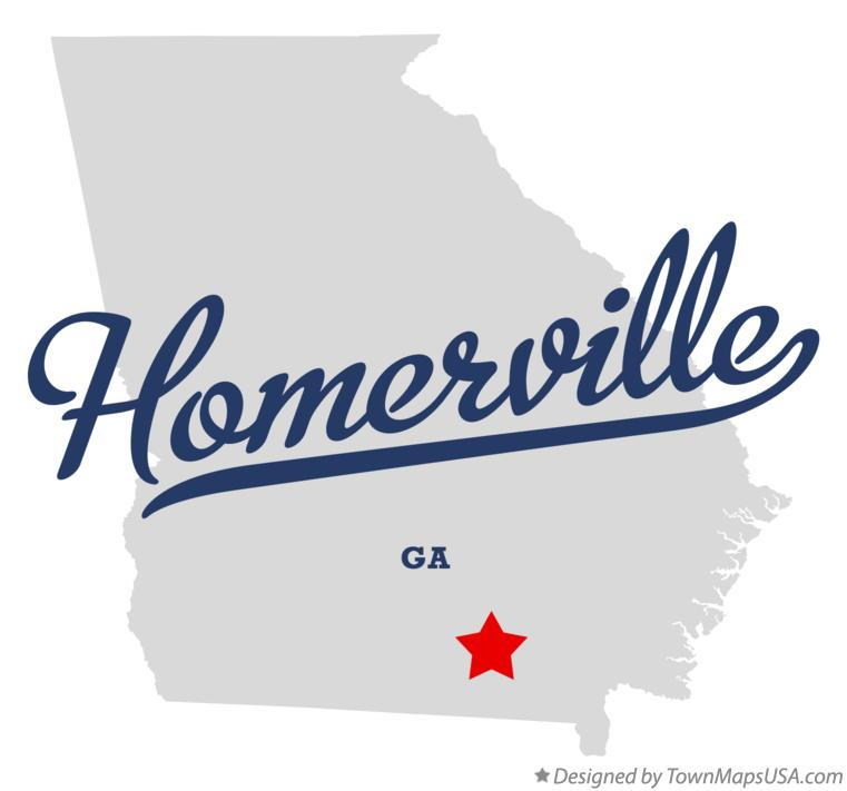 Map of Homerville Georgia GA
