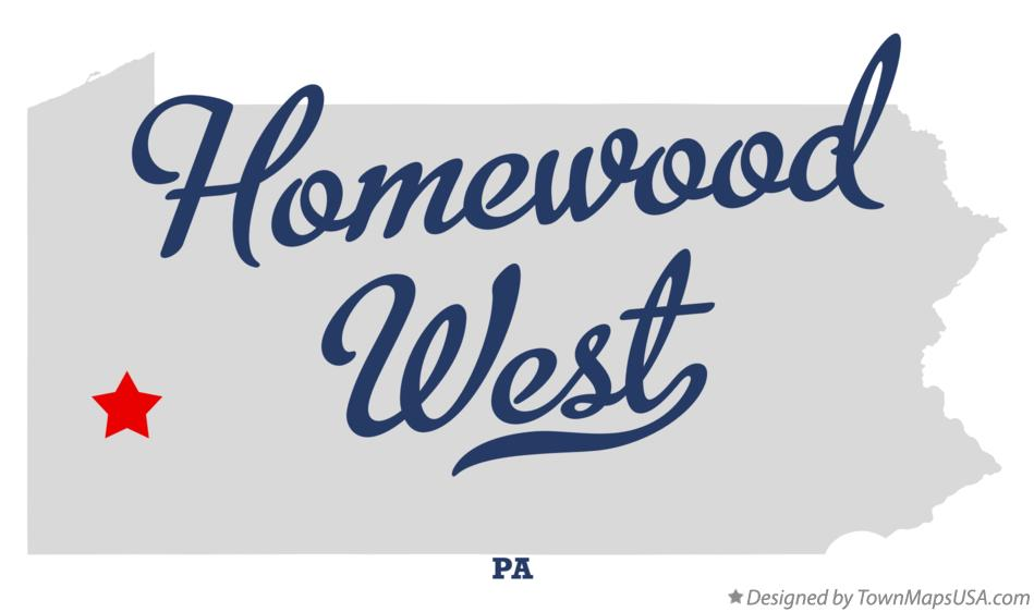 Map of Homewood West Pennsylvania PA