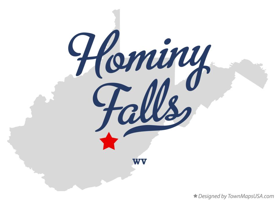 Map of Hominy Falls West Virginia WV