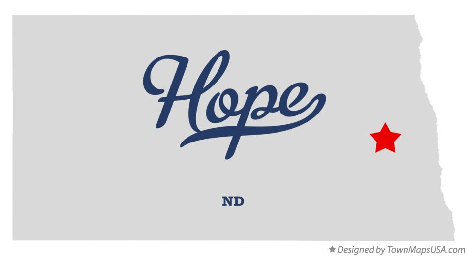 Map of Hope North Dakota ND