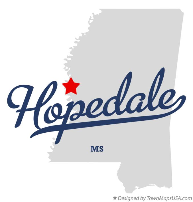 Map of Hopedale Mississippi MS