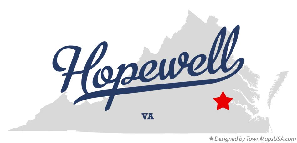 Map of Hopewell Virginia VA