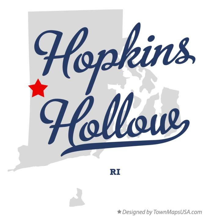 Map of Hopkins Hollow Rhode Island RI