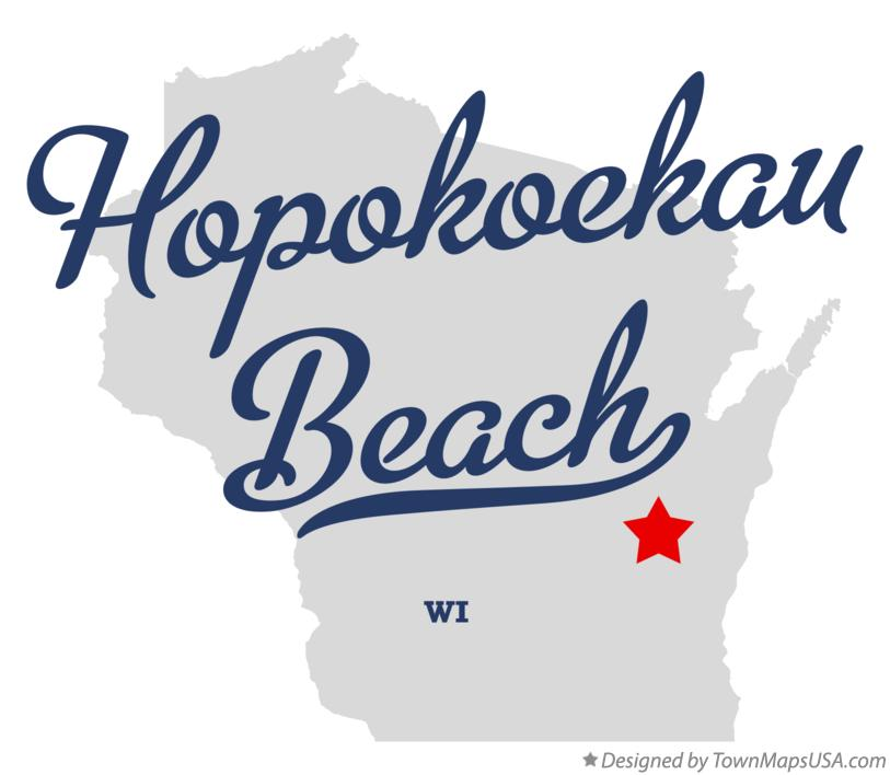 Map of Hopokoekau Beach Wisconsin WI