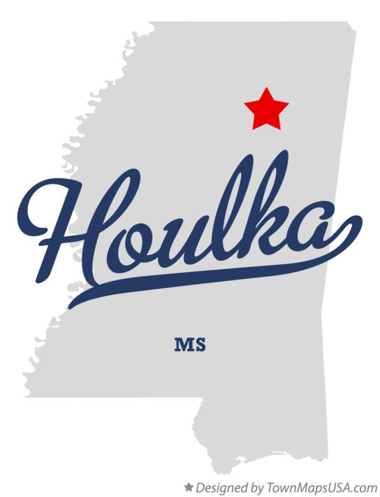 Map of Houlka Mississippi MS