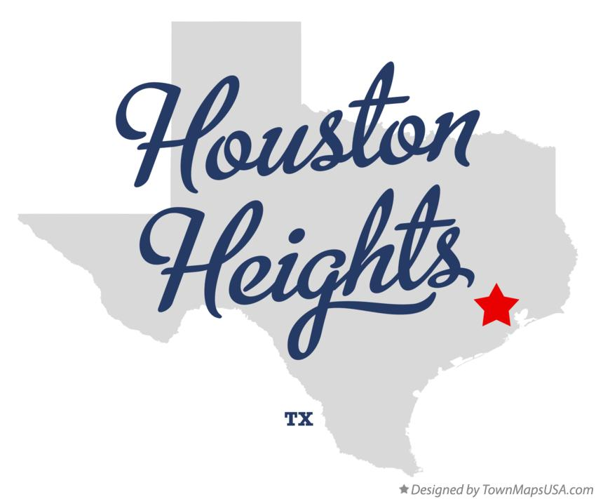 Map of Houston Heights Texas TX