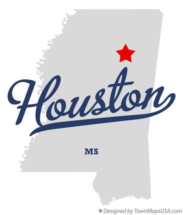 Map of Houston Mississippi MS