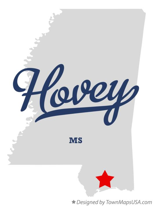Map of Hovey Mississippi MS