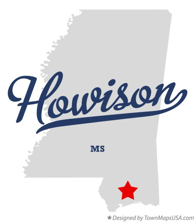 Map of Howison Mississippi MS
