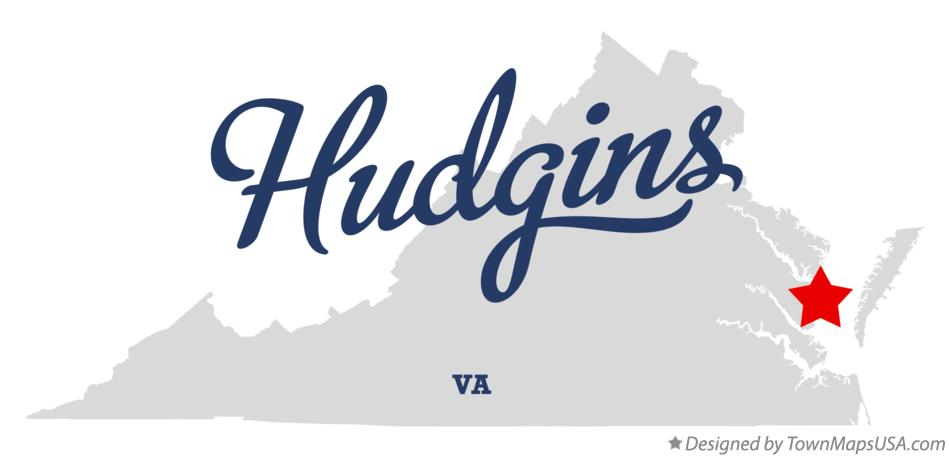 Map of Hudgins Virginia VA