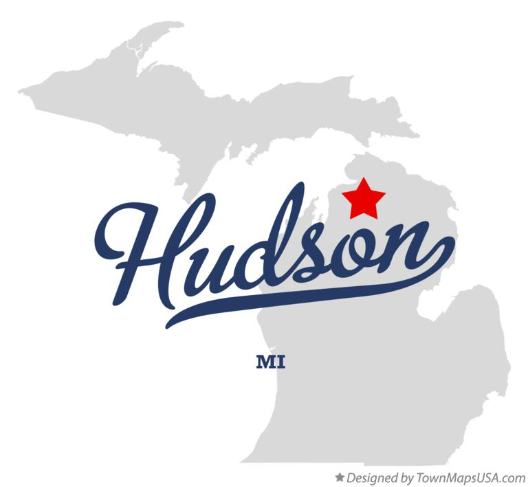 Map of Hudson Michigan MI