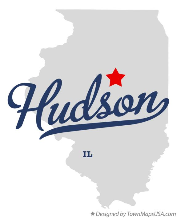 Map of Hudson Illinois IL
