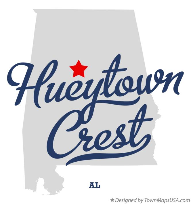 Map of Hueytown Crest Alabama AL