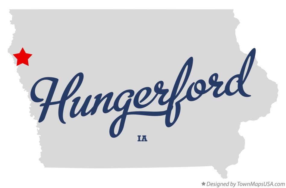 Map of Hungerford Iowa IA