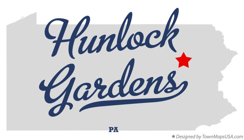 Map of Hunlock Gardens Pennsylvania PA