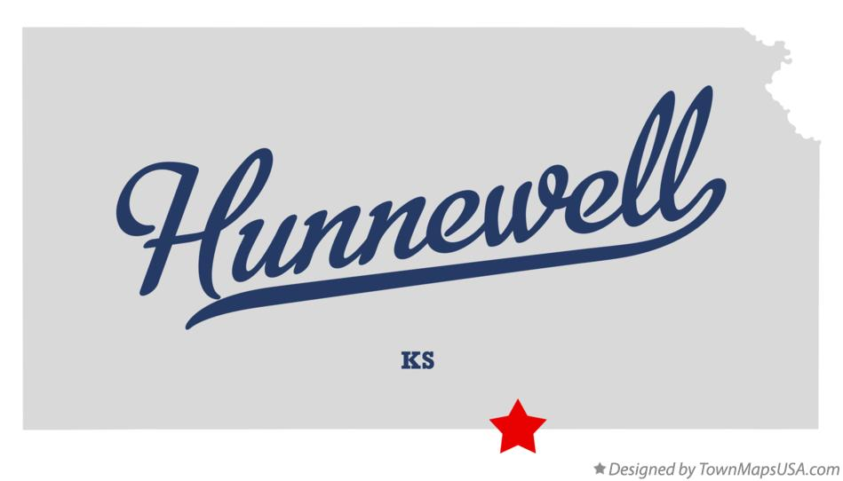 Map of Hunnewell Kansas KS