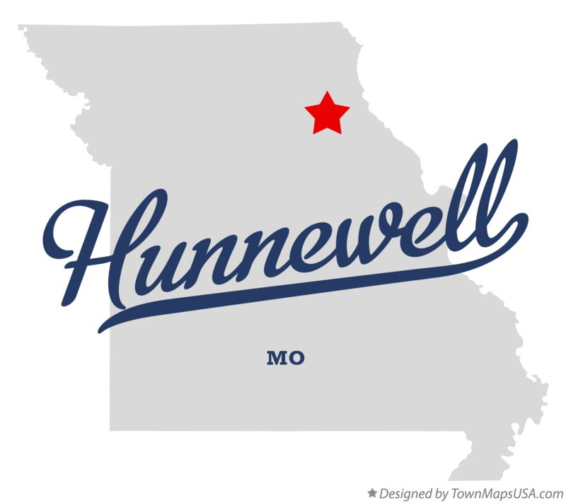 Map of Hunnewell Missouri MO