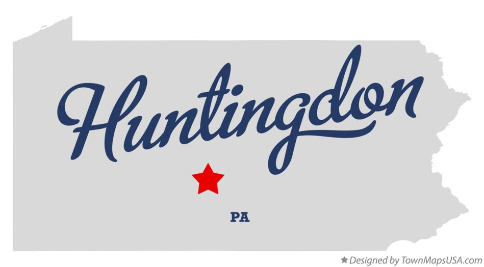 Map of Huntingdon Pennsylvania PA
