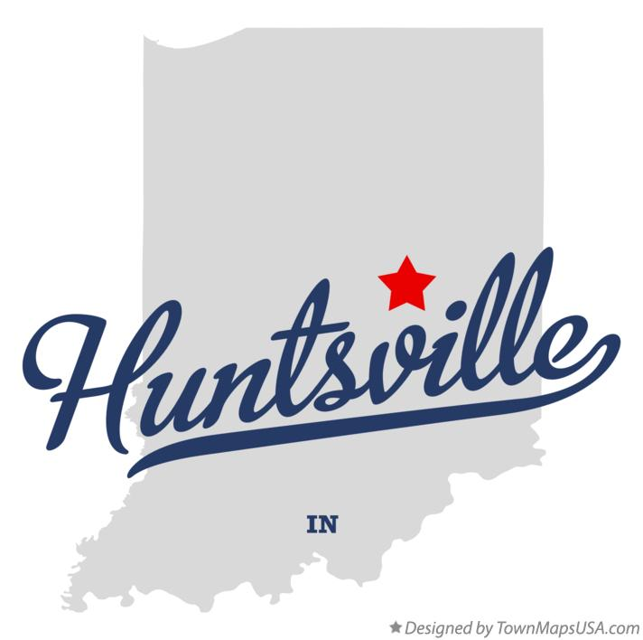 Map of Huntsville Indiana IN