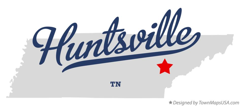 Map of Huntsville Tennessee TN