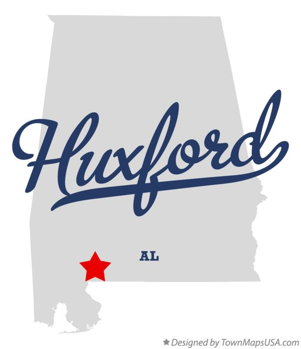 Map of Huxford Alabama AL