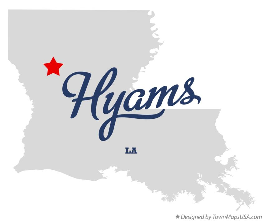 Map of Hyams Louisiana LA