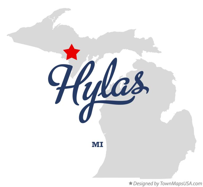 Map of Hylas Michigan MI