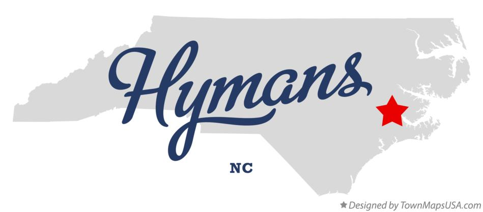 Map of Hymans North Carolina NC