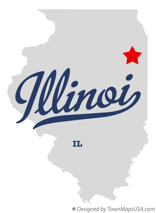 Map of Illinoi Illinois IL