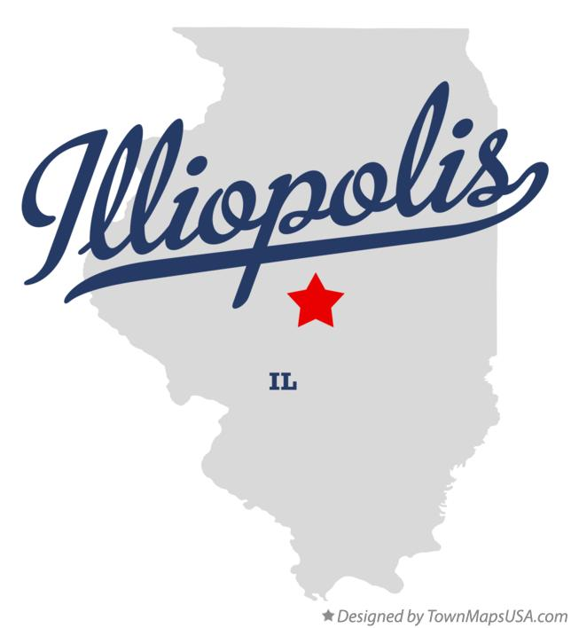 Map of Illiopolis Illinois IL
