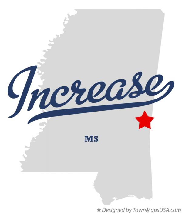 Map of Increase Mississippi MS