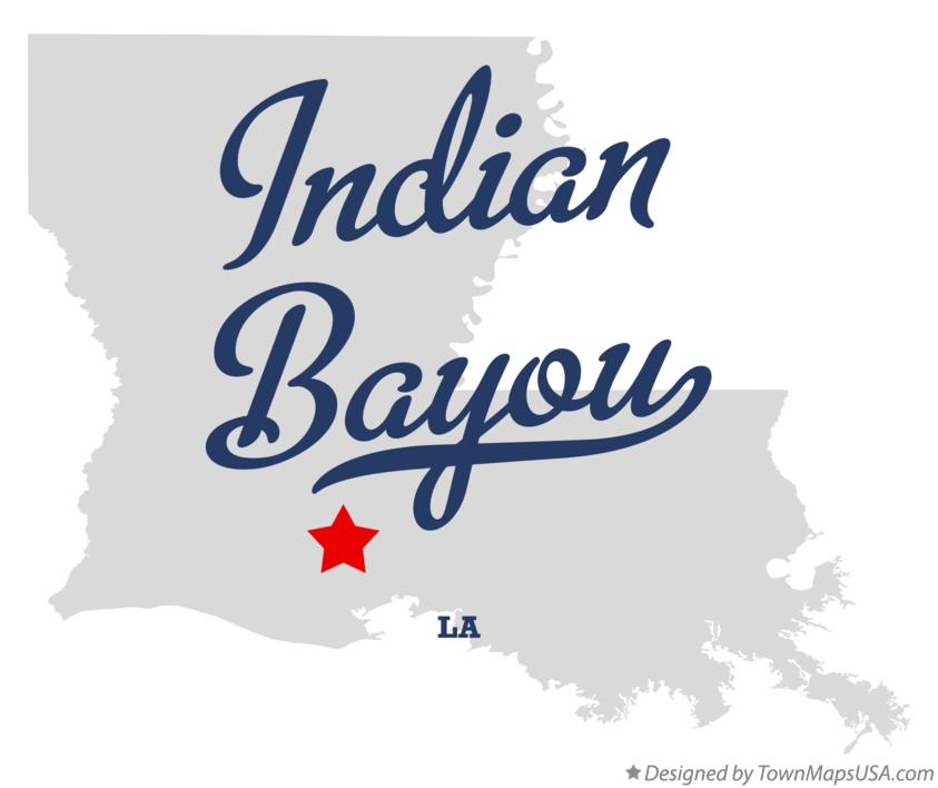 Map of Indian Bayou Louisiana LA