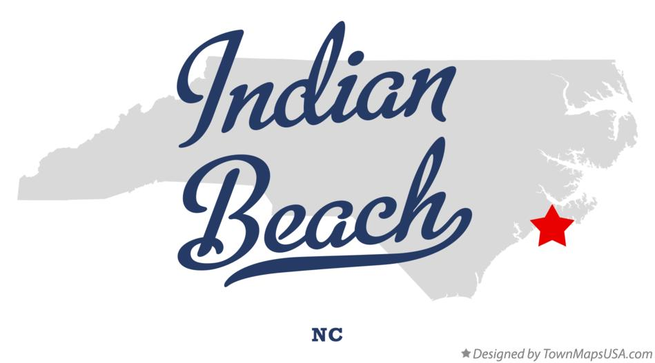 Map of Indian Beach North Carolina NC
