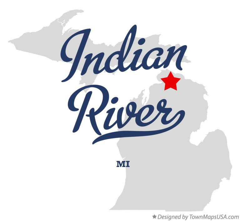Map of Indian River Michigan MI