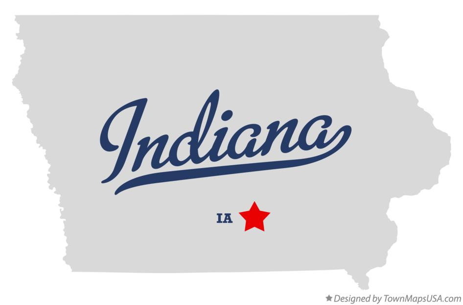 Map of Indiana Iowa IA
