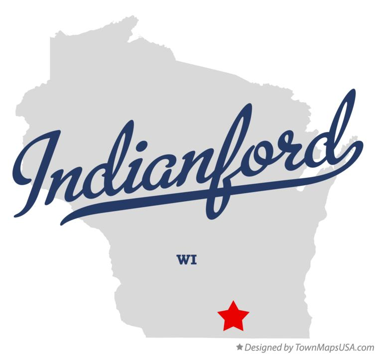 Map of Indianford Wisconsin WI