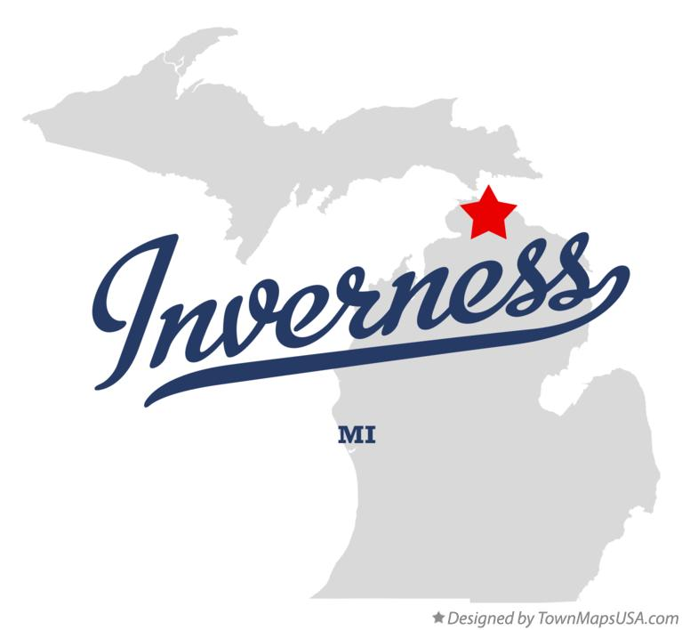 Map of Inverness Michigan MI