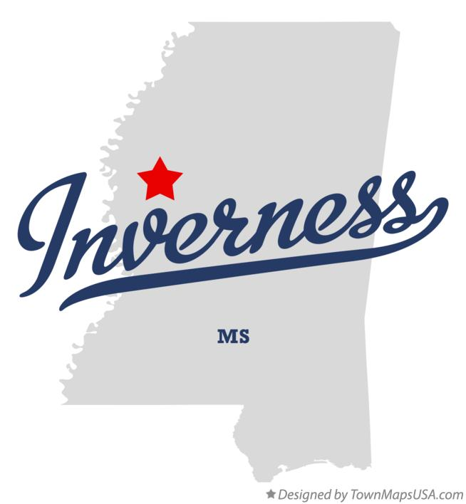Map of Inverness Mississippi MS