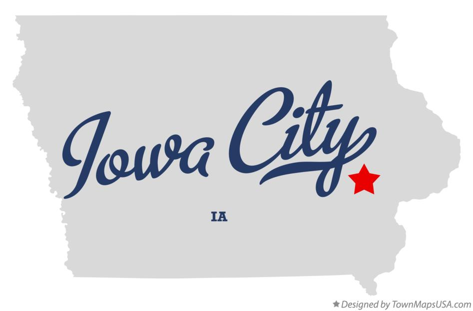 Map of Iowa City IA Iowa