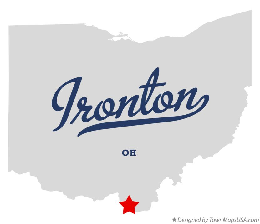 Map of Ironton Ohio OH