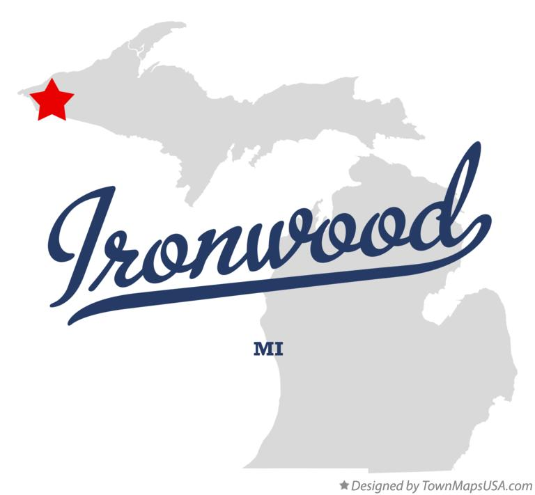 Map of Ironwood Michigan MI