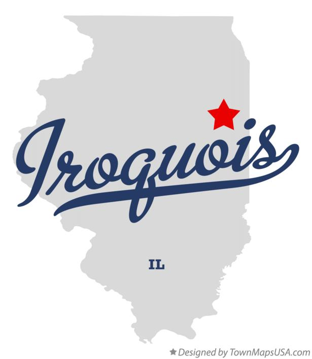 Map of Iroquois Illinois IL